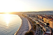France, Alpes-Maritimes, Nice, the Promenade des Anglais from the castle hill