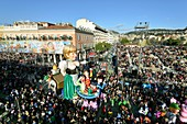France, Alpes Maritimes, Nice, Carnival 2014, the Corso (procession of carnival floats)