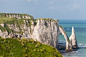 France, Seine Maritime, Pays de Caux, Alabaster Coast, Etretat, Aval cliff, Aval Arch and Needle