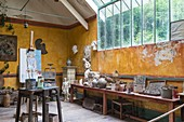 France, Eure, Giverny, the former Hotel Baudy, 81 Claude Monet street, restaurant museum, is an historical place, frequented by artists at the time of Monnet