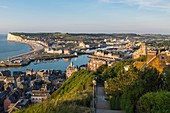 France, Seine Maritime, Le Treport, panoramic view from the cliffs strairs, Mers les Bains in the background