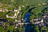 France, Vienne, Angles sur l'Anglin, labelled Les Plus Beaux Villages de France (The MoSaint Beautiful Villages of France), the castle and l'Anglin river (aerial view)