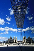 France, Bouches du Rhone, Marseille, Euromediterranean area, MuCEM Museum of Civilization in Europe and the Mediterranean, R. Ricciotti and R. Carta architects , La Major Cathedral Historical Monument in the background