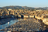 France, Bouches du Rhone, Marseille, Euromediterranean area, Vieux Port, crowd on the pier Rive Neuve on national day, Massif du Garlaban in the background