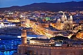 France, Bouches du Rhone, Marseille, Euromediterranean area, Fort St Jean Monument History class, MuCEM Museum of Civilization in Europe and the Mediterranean R. Ricciotti and R. Carta architects, the Cathedral The Major Class Historical Monument in the background