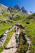 Frankreich, Savoyen, Pralognan la Vanoise, Parc National de la Vanoise, GR55, Weg des Col de la Vanoise, Route du Sel et du Beaufort (Salz- und Beaufortstraße), Blick auf die Spitze des Grande Glière (3392 m) und die Spitze des Petite Glière (3322m)