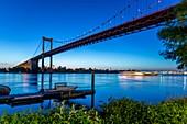 France, Gironde, Bordeaux, the Aquitaine Bridge is a suspension bridge on the Bordeaux ring road, it was designed by architect Jean Fayeton