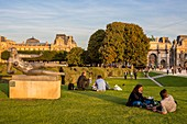 France, Paris, area listed as World Heritage by UNESCO, the Carrousel gardens, statues and Mayol Louvre in the background