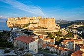France, Corse-du-Sud, Bonifacio, the old town or Upper Town perched on limestone cliffs more than 60 meters high, Etendard bastion