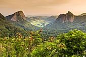 France, Puy de Dome, Parc Naturel Regional des Volcans d'Auvergne (Regional natural park of the volcanoes of Auvergne), Mont Dore, Pass of Guery, Rock Tuiliere (to the left) and Rock Sanadoire, two protrusions volcanic