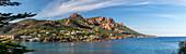 France, Var, Corniche de l'Esterel, Saint Raphael, creek of Antheor and the Cap Roux dominated by the Saint Pilon which peaks in 442m