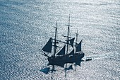 France, Charente Maritime, Ars en Re, L'Hermione frigate, replica of the three masts which brought the marquis de Lafayette to America in 1780 (aerial view)