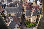 France, Dordogne, Sarlat la Caneda, view overlooking the roof of the old town from the steeple of St Mary church