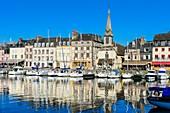 France, Calvados, Pays d'Auge, Honfleur and its picturesque harbour, Old Basin and the Quai Saint Etienne, Saint Etienne church