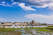 France, Manche, Cotentin, Barfleur, labeled Les Plus Beaux Villages de France (The Most Beautiful Villages of France), the little fishing harbour and Saint Nicolas church built from 17th century to 19th century