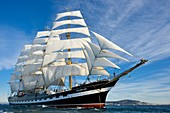 France, Herault, Sete, Krusenstern, ship Russian school, second bigger sailboat 4 masts to the world with 115 meters long