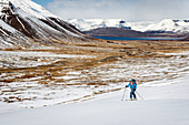Ascent with touring skis to Breiðhorn, Westfjords, Iceland