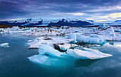 Icebergs in the Jokulsarlon glacier lagoon at blue hour, Iceland