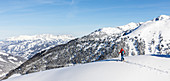 In the best weather, ski tourer traces her trail into the untracked winter landscape, Kitzbüheler Alpen, Tyrol, Austria