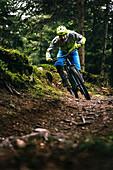 Mountainbiker in Kurvenlage auf einem nassen Waldtrail, Kitzbüheler Alpen, Tirol, Österreich