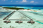 Aerial view of Lankanfushi holiday island, North Male Atoll, Indian Ocean, Maldives