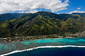 Aerial view of the west coast of Tahiti, Tahiti, French Polynesia