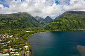 Tautira with a view of the Vaitephiha Valley, Tahiti, French Polynesia