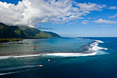 Aerial view of Teahupoo, Tahiti, French Polynesia
