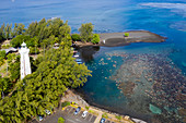 Aerial view of Point Venus, Tahiti, French Polynesia