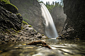 Mountain waterfall in a stony gorge with driftwood on a summer day, Germany, Bavaria, Oberallgäu