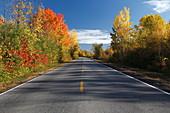 Landstraße im Herbst, Quebec, Kanada