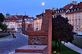 Medieval fortified city walls located along Podwale Street, evening, moon, old town, Warsaw, Mazovia region, Poland, Europe