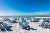 Empty deckchairs on the beach of the Gulf of Mexico, Fort Myers Beach, Florida, USA
