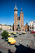 The main market square in Cracow (the second largest and one of the oldest cities in Poland). Europe.