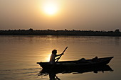2012, Mayapur, West Bengal India, boat on the Ganges in the sunset