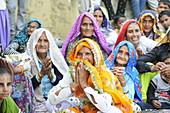 2015, Nandgoan / Nandagram, Vrindavan, Uttar Pradesh, India, women sing at school event
