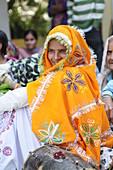 2015, Nandgoan / Nandagram, Vrindavan, Uttar Pradesh, India, woman at school event