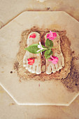 2017, Kusum Sarovara, Govardhan, Vrindavan, Uttar Pradesh, India, The feet of the deity Radharani in the temple of Kusum Sarovara with her flowers presented