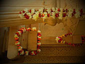 2018, Vrindakund, Vrindavan, Uttar Pradesh, India, flower garlands offered to the deity Vrinda devi