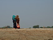 2018, Vrindavan, Uttar Pradesh, India, Two women at the Yamuna
