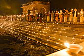 2019, Surabikund, Govardhan, Vrindavan, Uttar Pradesh, India, Surabikund explained with 8,000 ghee lamps as part of the Holy Name Retreat, devotees from Krishna sacrifice lights to Surabikund