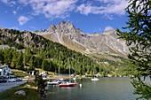 High mountains on Lake Sils on the Maloja Pass in Bergell, Graubünden, Upper Engadine, Switzerland