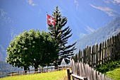 Swiss flag on field in the mountain village of Guarda, Lower Engadine, Grisons, Switzerland