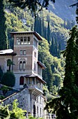 Villa with turrets in Varenna on the east side, Lake Como, Lombardy, Italy