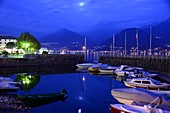 small port of Colico in the evening light, east side, Lake Como, Lombardy, Italy