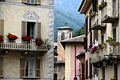 Medieval houses in Chiavenna, Val San Giacomo, Lombardy, Italy
