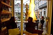 3 guests in bar on Place de la Liberté, Arbois, Jura, Franche Comté, Eastern France