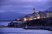 Evening view from the ferry of the Terra Nova from Bastia, Corsica, France