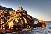 Medieval tower in Porto on the Gulf of Porto, western Corsica, France