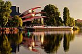 New Hans Otto Theater with the theater ship, Schiffbauergasse, Tiefer See der Havel, Potsdam, Brandenburg, Germany